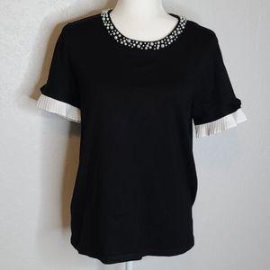 NWT Karl Lagerfeld Paris black knit sweater med